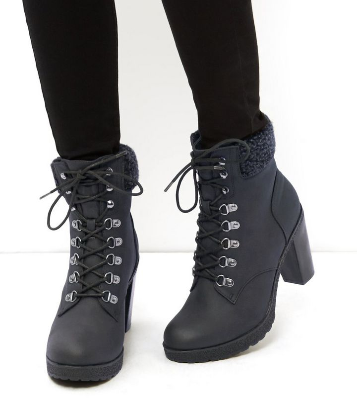 836fc0d3c608 ... Black Faux Shearling Cuff Lace Up Block Heel Ankle Boots. ×. ×. ×.  VIDEO Shop the look