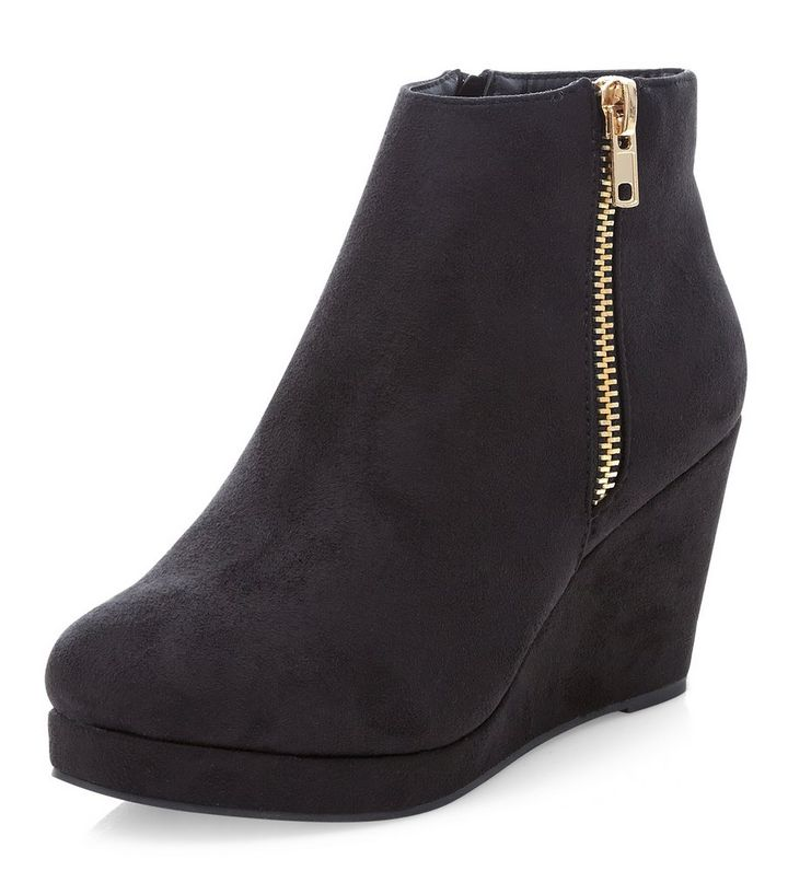 daa75616d896 Wide Fit Black Suedette Wedge Ankle Boots