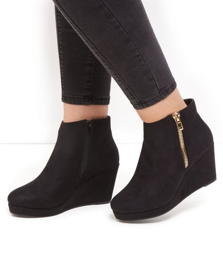 7b0415cc54cc ... Wide Fit Black Suedette Wedge Ankle Boots. ×. ×. ×. VIDEO Shop the look