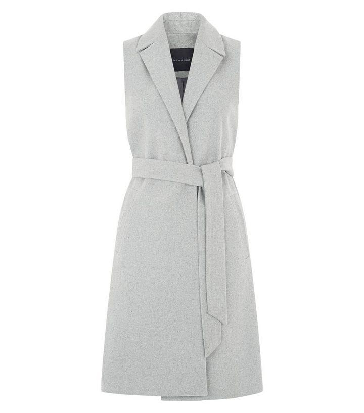 11b24b7730e27 Grey Tie Waist Sleeveless Blazer | New Look