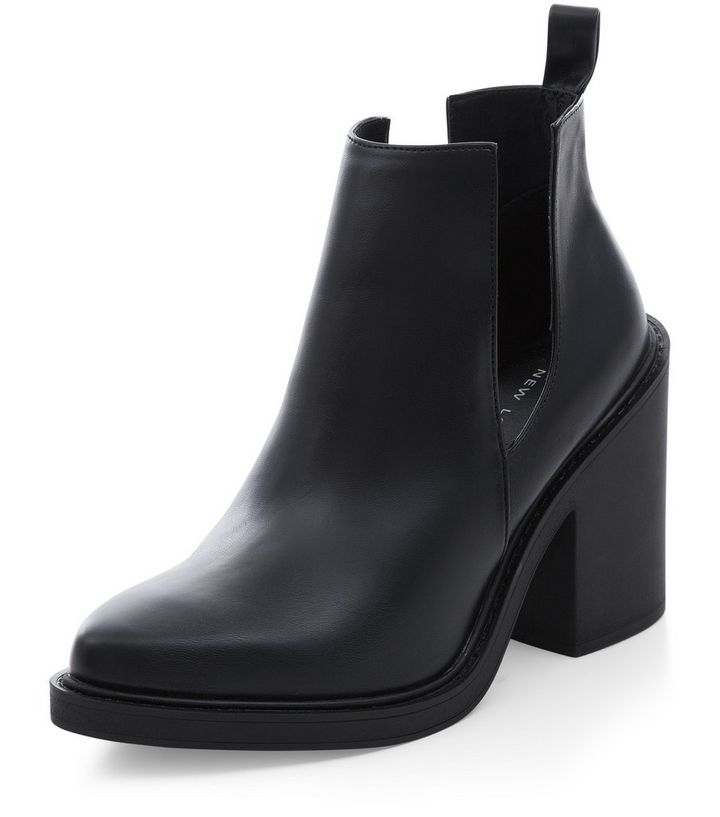 a112349a629 Black Cut Out Block Heel Ankle Boots Add to Saved Items Remove from Saved  Items