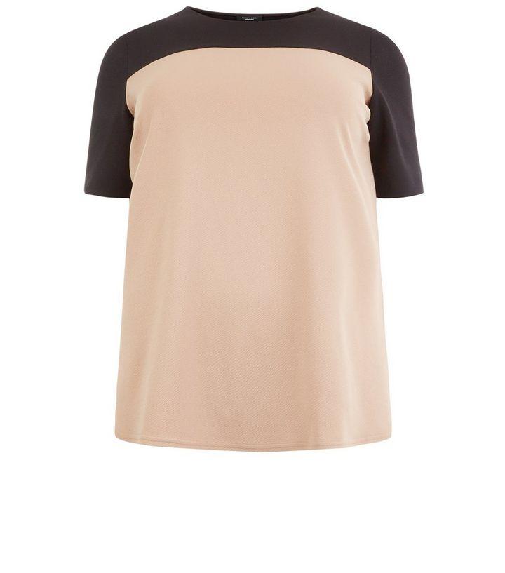 dd871885a Plus Size Camel Colour Block Oversized T-Shirt | New Look