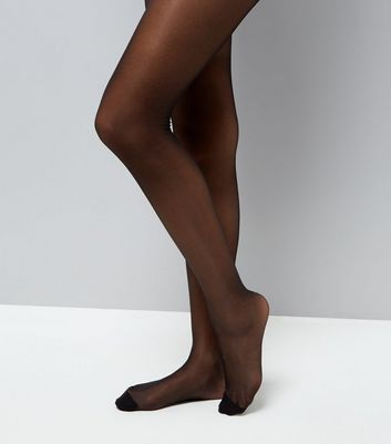 Black Sheer Glossy 15 Denier Tights New Look