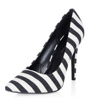 Black Stripe Pointed Heels | New Look