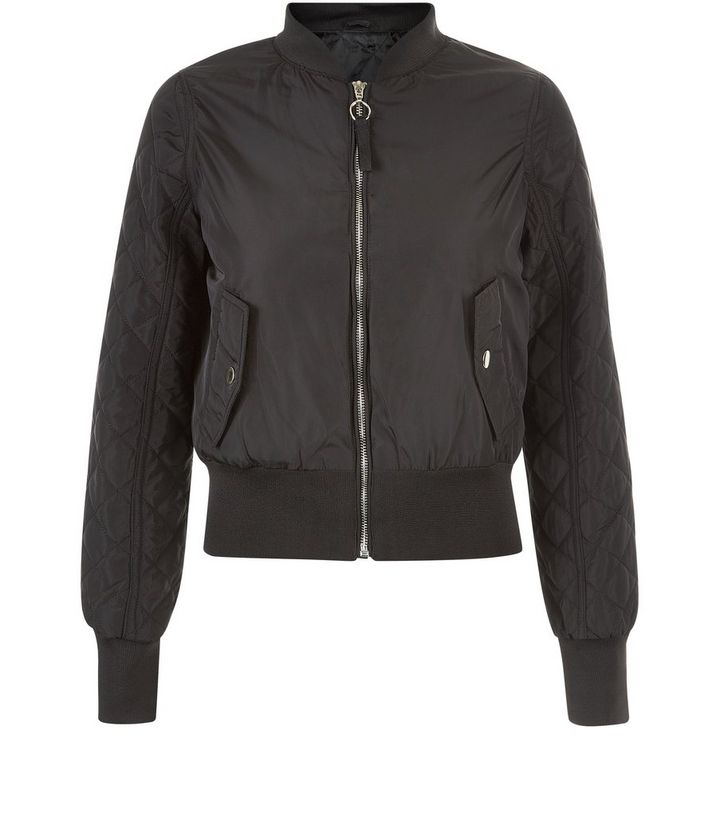 c6035d0efb0 Brave Soul Black Quilted Sleeve Bomber Jacket Add to Saved Items Remove  from Saved Items