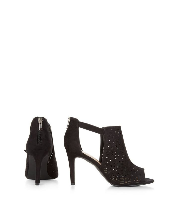 6264c37c8413 ... Wide Fit Black Laser Cut Out Peep Toe Heeled Boots. ×. ×. ×. VIDEO Shop  the look