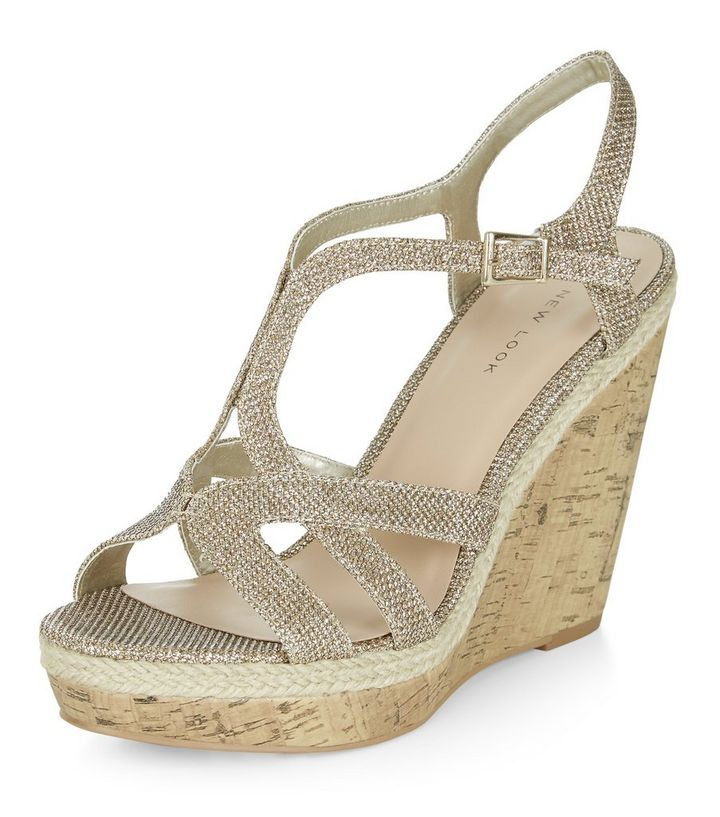64a930359f0 Gold Shimmer Strappy Wedge Sandals Add to Saved Items Remove from Saved  Items