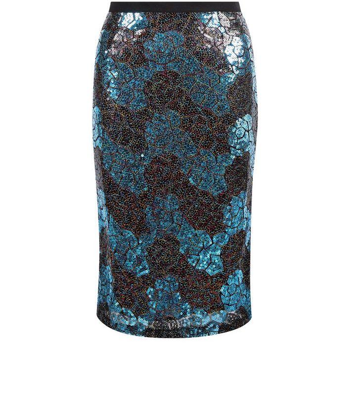 37c8609eb8d Cutie Blue Zig Zag Print Sequin Pencil Skirt