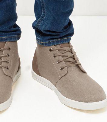 Stone Canvas Chukka Boots | New Look
