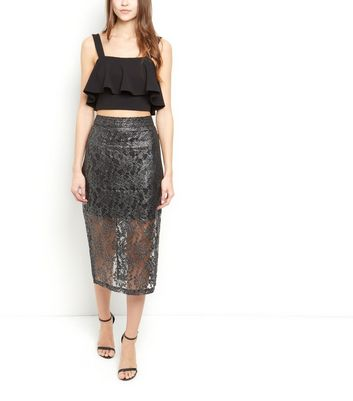 Jumpo Silver Lace Pencil Skirt New Look