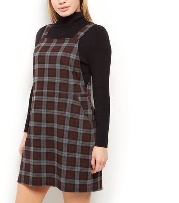 Petite Red Check Pinafore Dress New Look