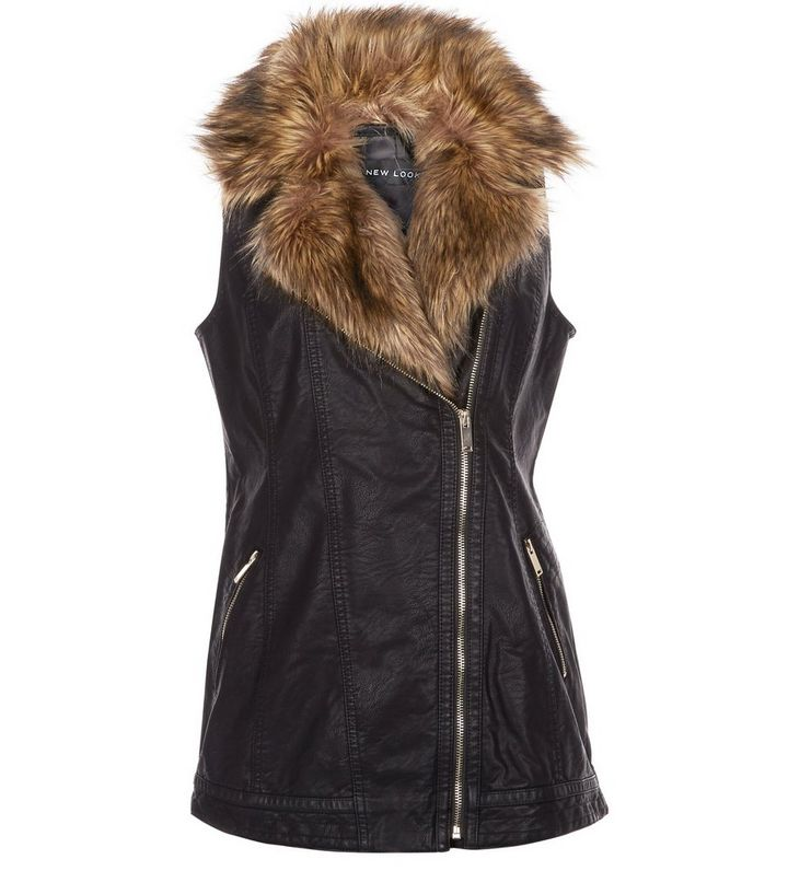 dc540a36873b6 Black Leather-Look Faux Fur Collar Sleeveless Jacket