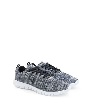 Black Stretch Knitted Trainers   New Look