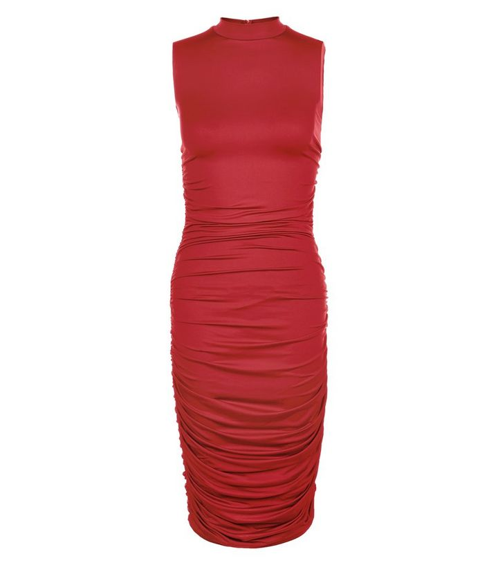 392664abf375 AX Paris Red High Neck Ruched Midi Dress | New Look