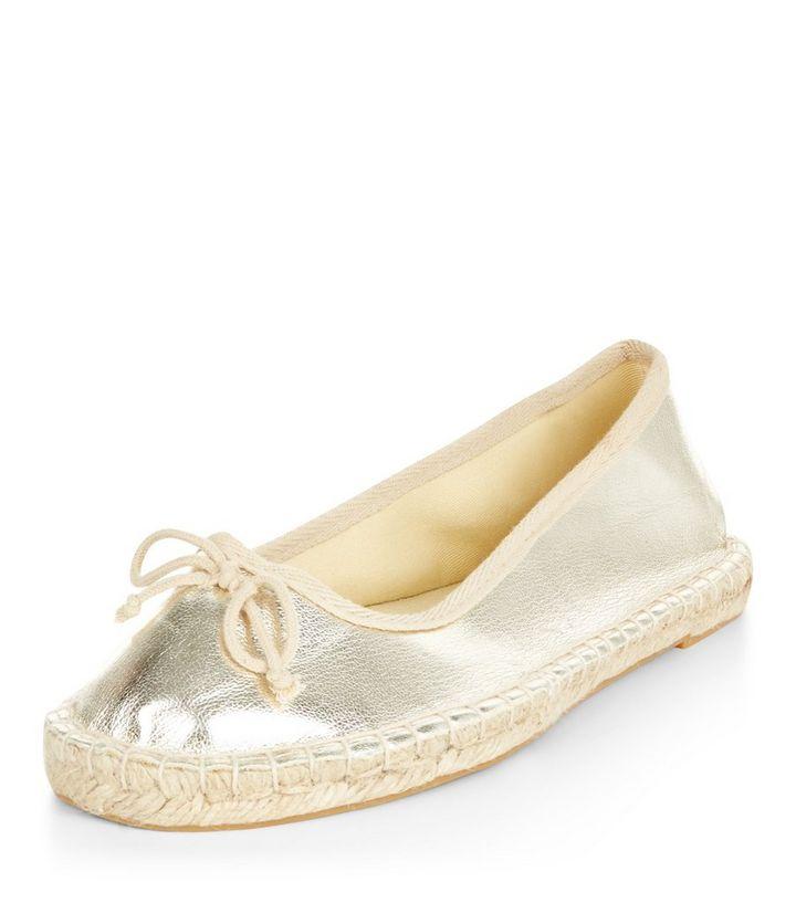 b5284db8adc1 Gold Espadrille Ballet Pumps
