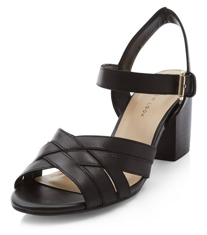 f3ae20693032 Wide Fit Black Leather Cross Strap Block Heel Sandals