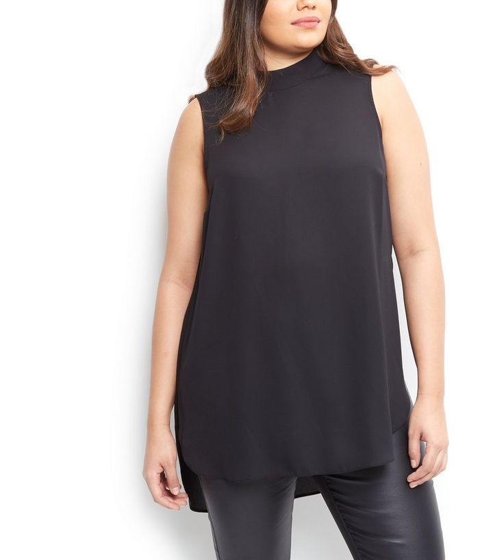 00a064c17d9c9f ... Curves Black Funnel Neck Longline Sleeveless Top. ×. ×. ×. Shop the look