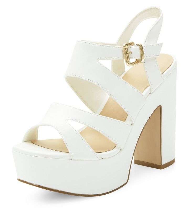 4cdad218901 Wide Fit White Platform Block Heels