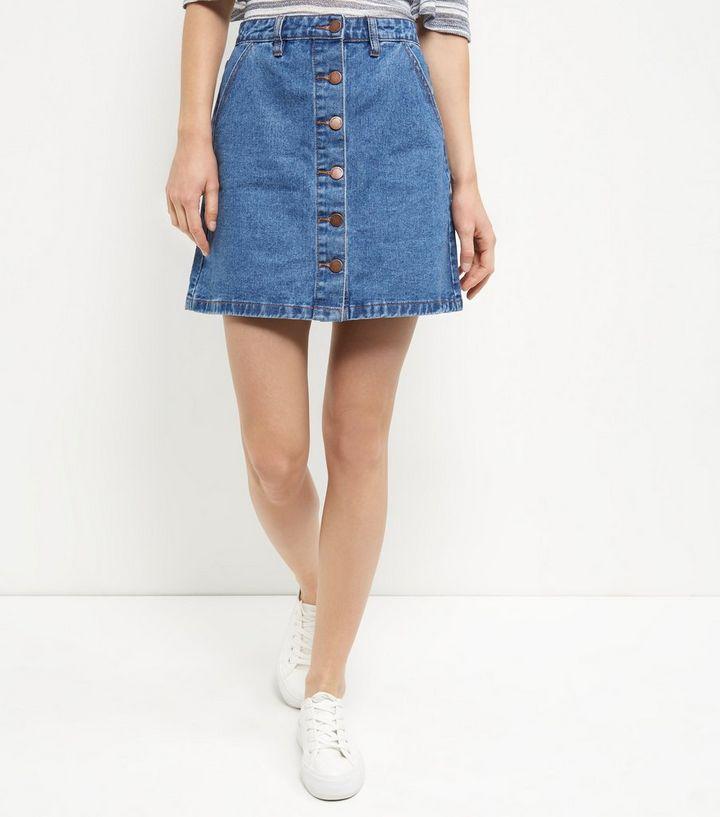design de qualité 7f7e5 ba46c Jupe trapèze en jean bleue boutonnée à l'avant Ajouter à la Wishlist  Supprimer de la Wishlist