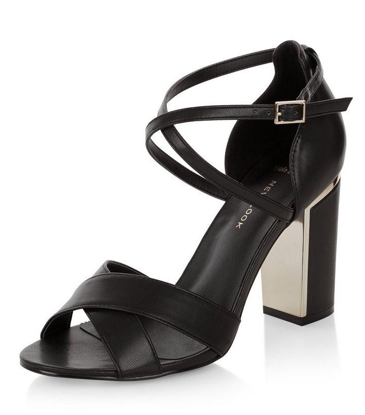 89536215de9b Wide Fit Black Cross Strap Block Heel Sandals