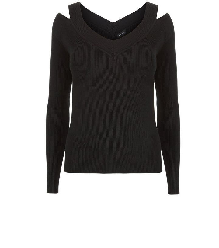 Black Ribbed V Neck Cold Shoulder Long Sleeve Top  c00e645d6