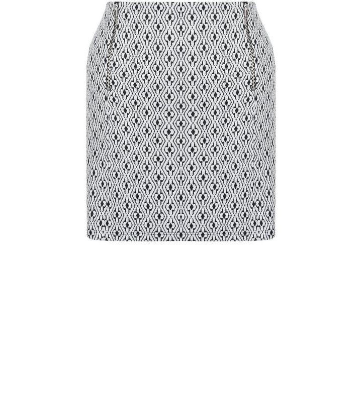c401b47d7d Petite Monochrome Floral Geo Jacquard Zip Front Skirt | New Look