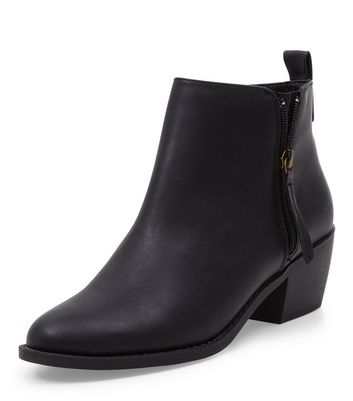 Wide Fit Black Pointed Ankle Boots