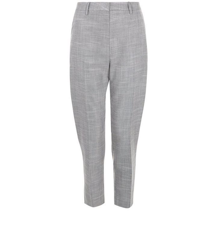 cc9e9a17e586fc Grey Crosshatch Linen Slim Fit Cropped Trousers   New Look