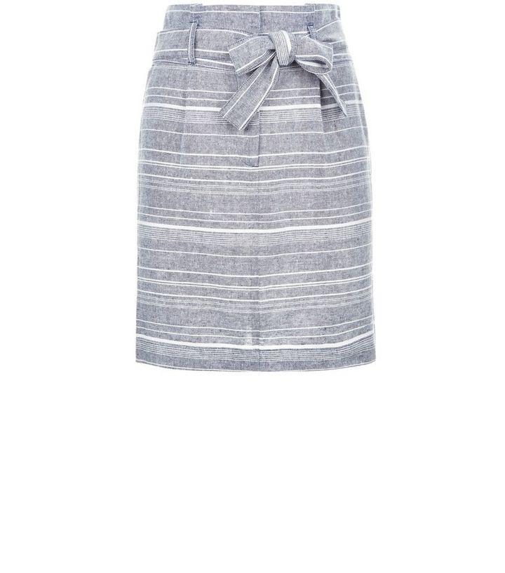 0da12516711a Blue Linen Mix Stripe Tie Waist Skirt | New Look