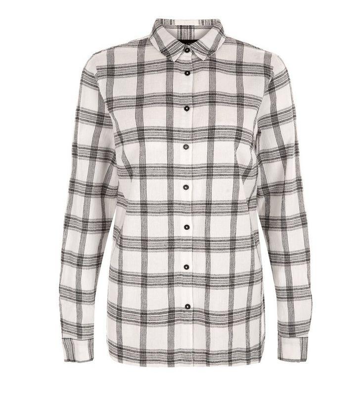 Chemise blanche fendue sur le côté à imprimé quadrillage et manches ... 12d497263199