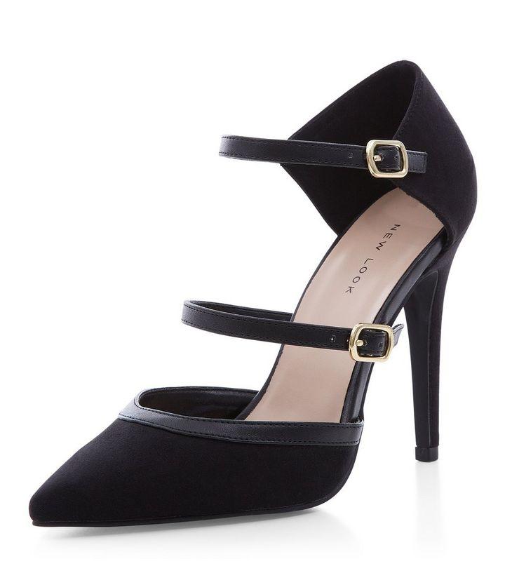 3cad043daf53 Black Suedette Strappy Front Pointed Heels