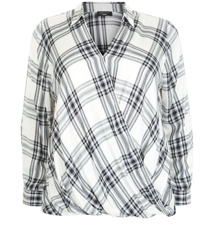e086613b249 Plus Size Check Wrap Blouse