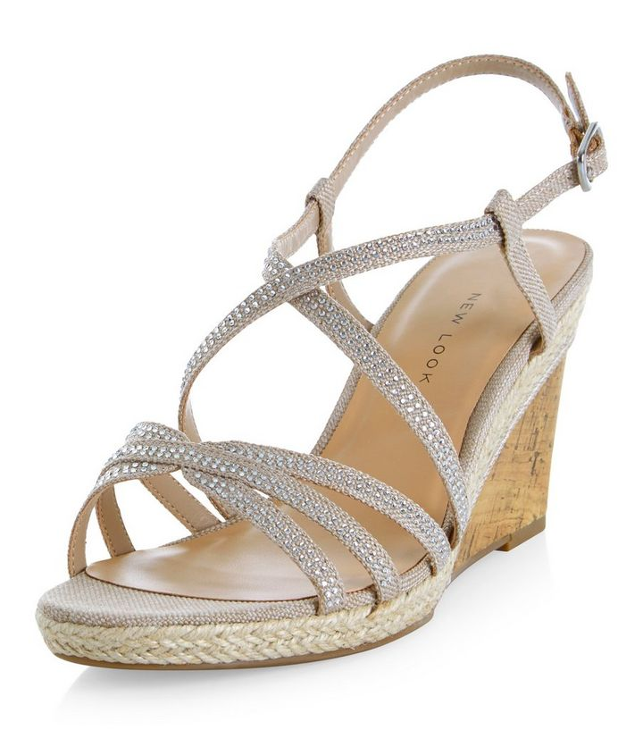 f909f5f5b287 Wide Fit Cream Diamante Trim Cross Strap Wedges