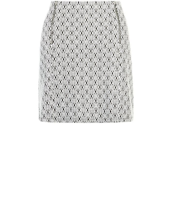 b787bbd5de Tall Black Floral Geo Jacquard Zip Front Skirt | New Look