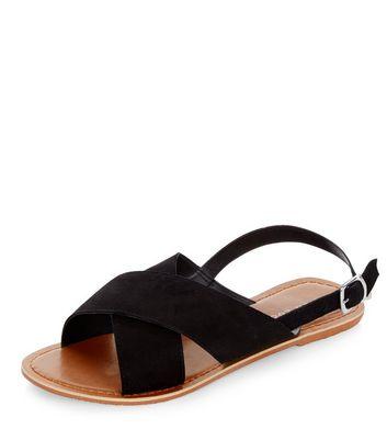 Black Suede Cross Strap Sandals | New Look