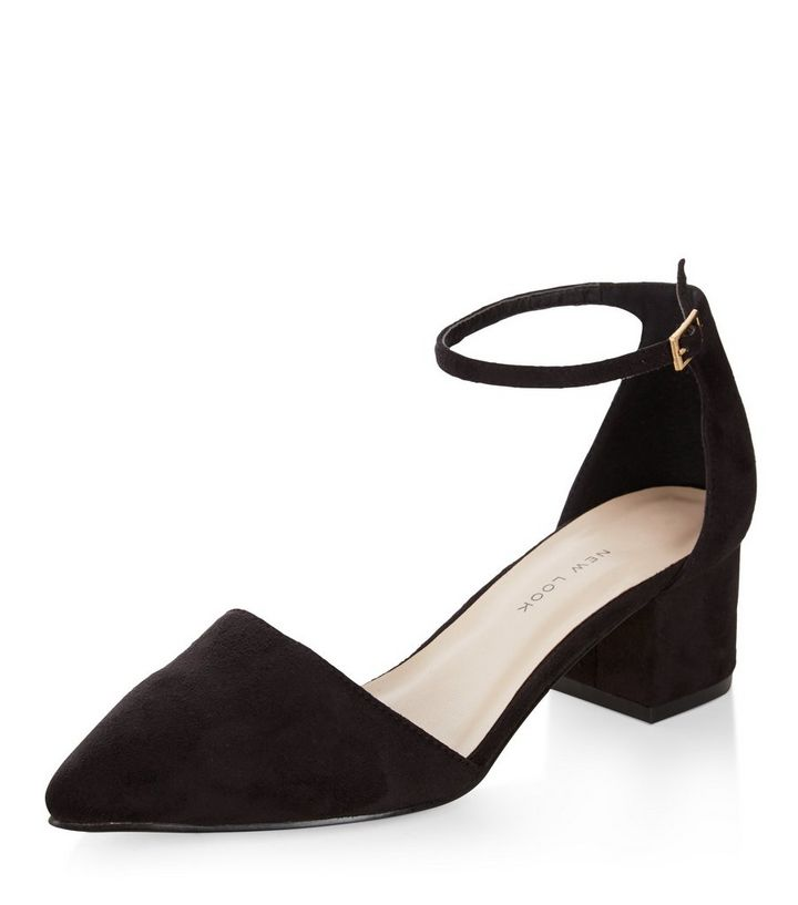 700bac40bc5 Wide Fit Black Suedette Pointed Ankle Strap Block Heels