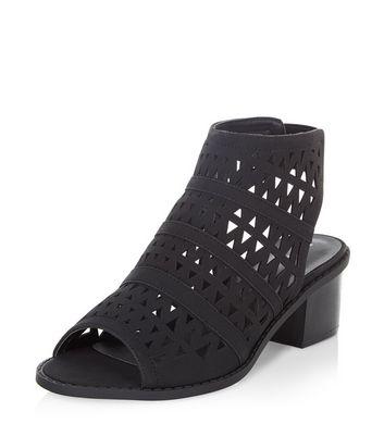 Black Laser Cut Out Peep Toe Sandals