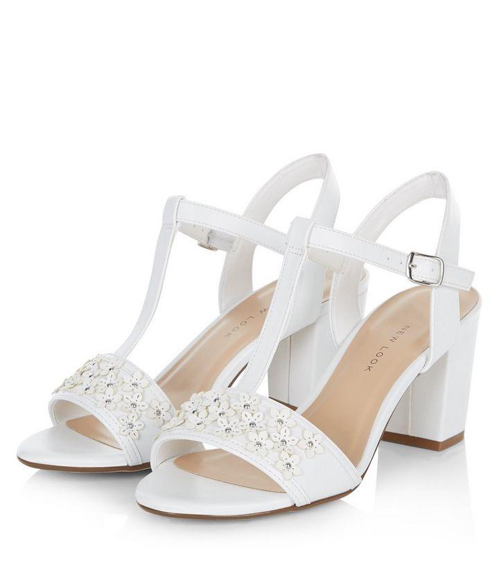 a5cec36a8eeb Teens White Floral Embellished Block Heel Sandals