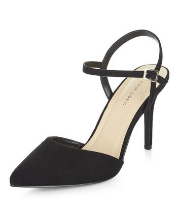 Black Suedette Pointed Ankle Strap
