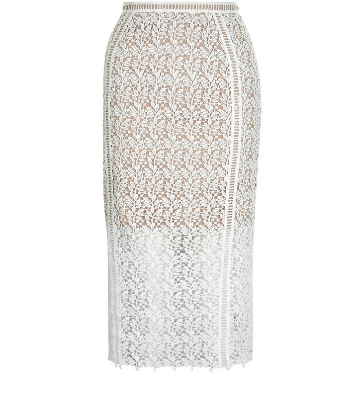 1af5ee27084b3 White Lace Pencil Skirt