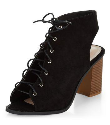 block heel peep toe shoe boots