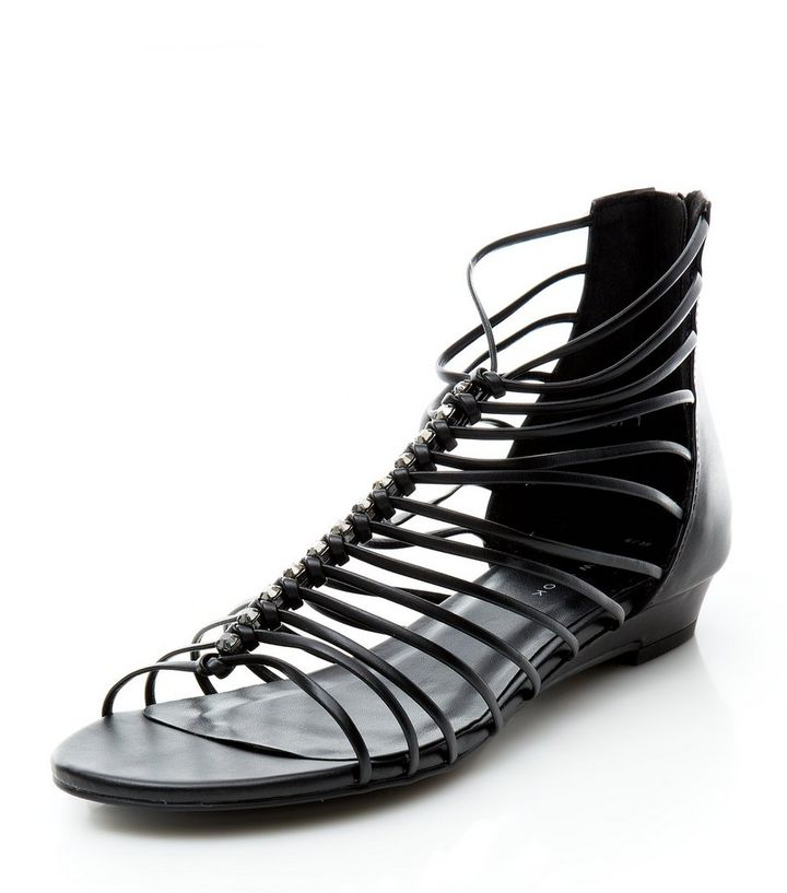 60f890c7673 Black Strappy Wedge Sandals Add to Saved Items Remove from Saved Items