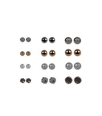 12 Pack Multicoloured Stud Earrings New Look