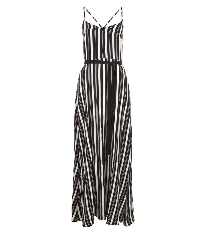 7adcf1bc6183d Black Stripe Split Front Maxi Dress | New Look