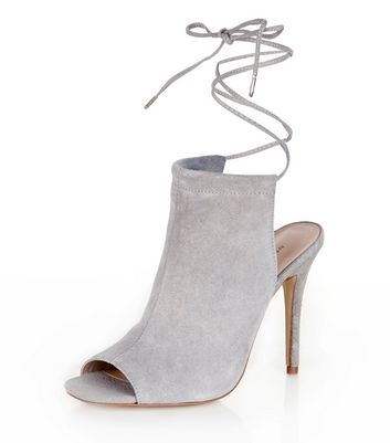 Grey Suede Lace Up Peep Toe Heels | New