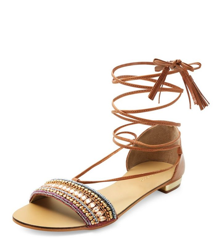 5ac93f18e94b1c Tan Leather Beaded Lace Up Sandals
