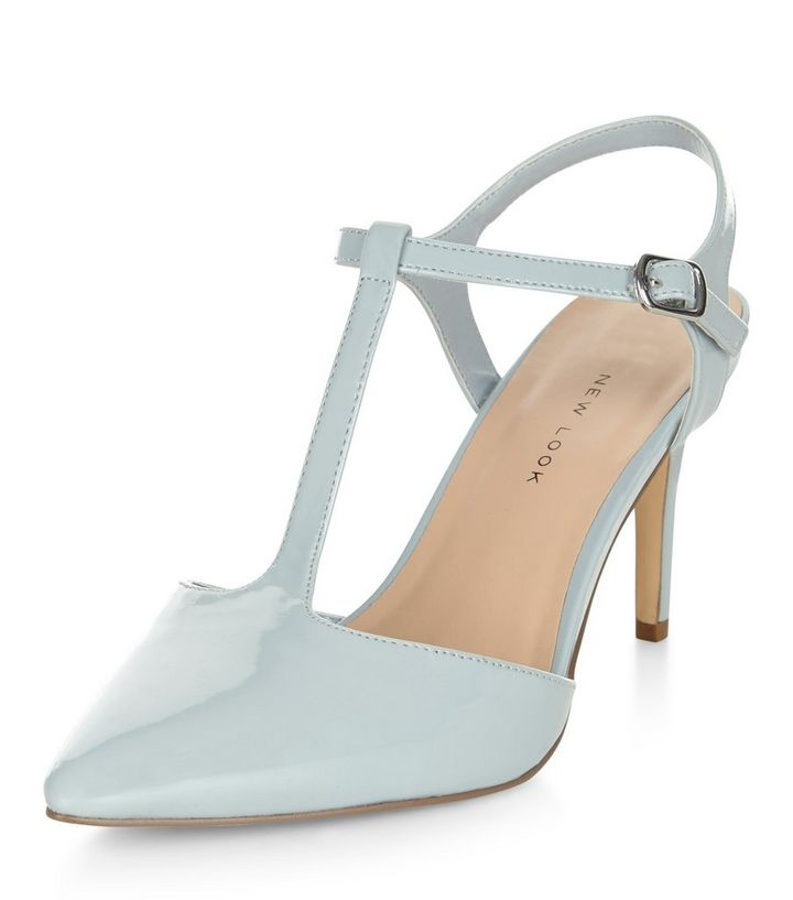 9a9e496473 Wide Fit Pale Blue Patent T-Bar Strap Pointed Heels | New Look
