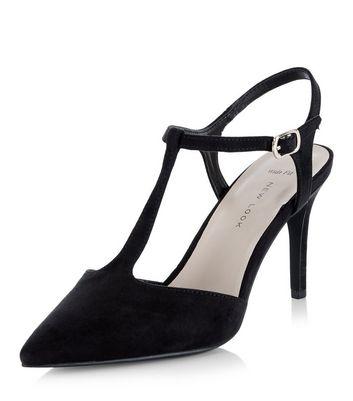 Black Suedette T-Bar Pointed Heels