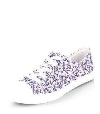 Purple Floral Print Lace Up Plimsolls