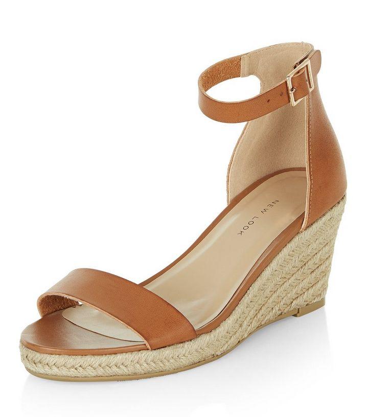 d9f44e71637 Tan Ankle Strap Espadrille Wedges